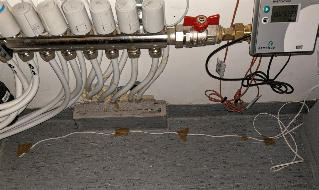 Waterguard teknisk rom, ledning på gulvet.